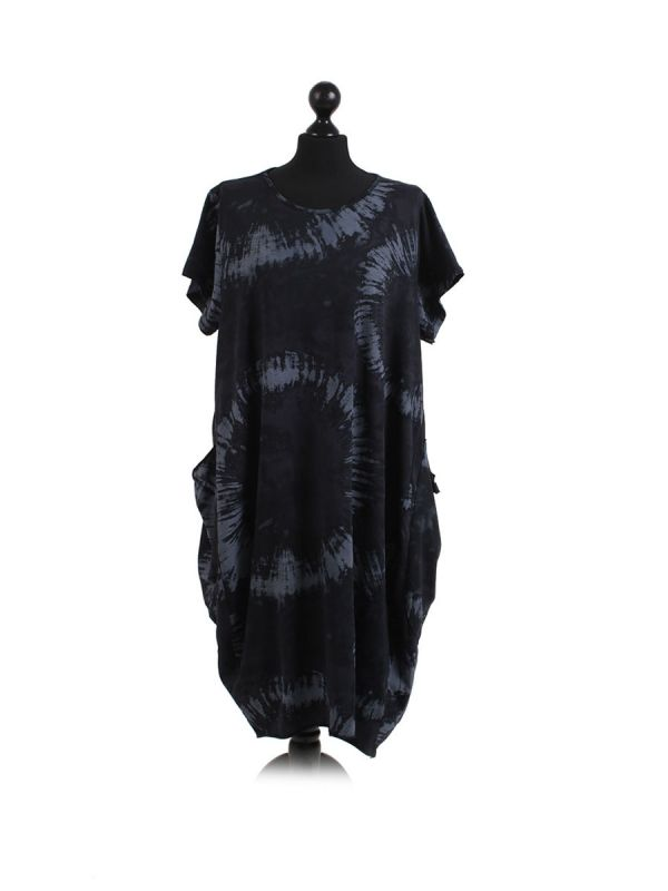 Made In Italy Fossil Print Pocketed Cotton Lagenlook Cocoon Dresss-Black