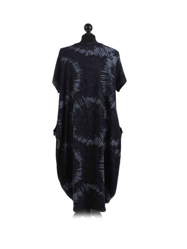 Made In Italy Fossil Print Pocketed Cotton Lagenlook Cocoon Dresss-Black back