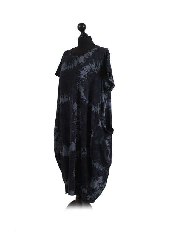 Made In Italy Fossil Print Pocketed Cotton Lagenlook Cocoon Dresss-Black side
