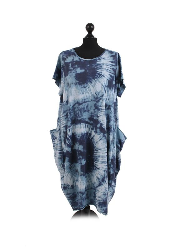 Made In Italy Fossil Print Pocketed Cotton Lagenlook Cocoon Dresss-Denim