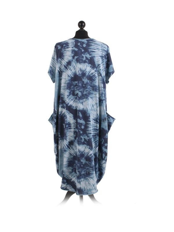 Made In Italy Fossil Print Pocketed Cotton Lagenlook Cocoon Dresss-Denim back