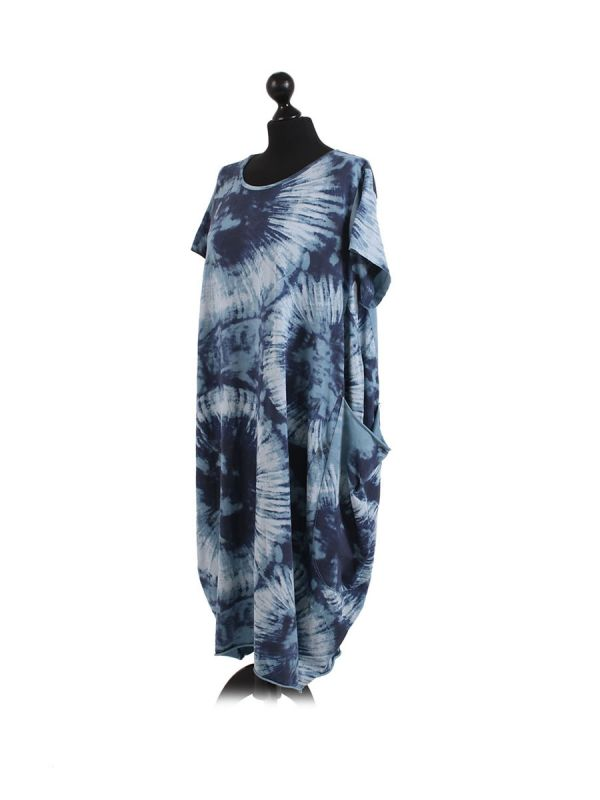 Made In Italy Fossil Print Pocketed Cotton Lagenlook Cocoon Dresss-denim side