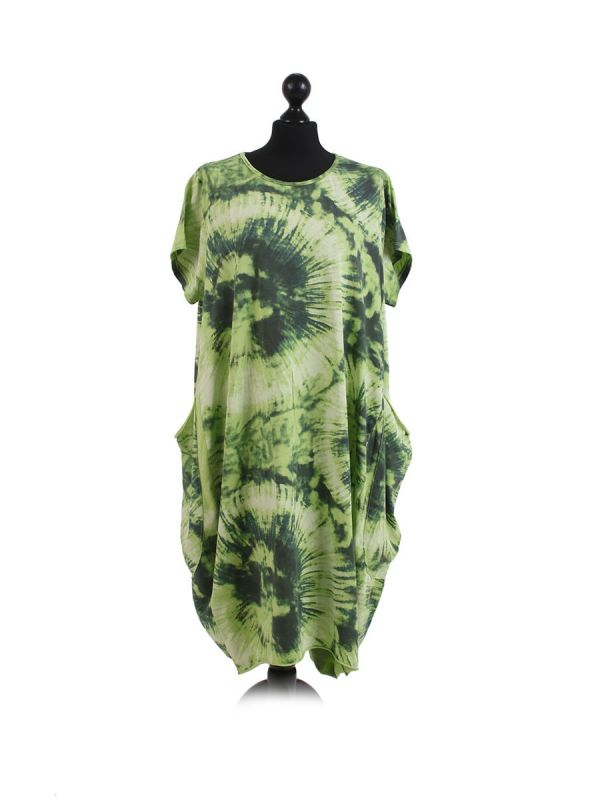 Made In Italy Fossil Print Pocketed Cotton Lagenlook Cocoon Dresss-Lime green