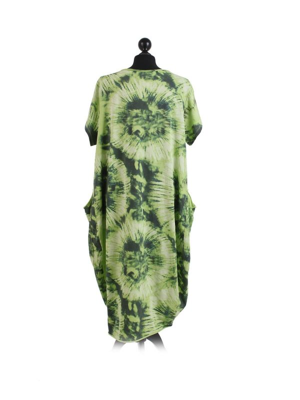 Made In Italy Fossil Print Pocketed Cotton Lagenlook Cocoon Dresss-Lime green back