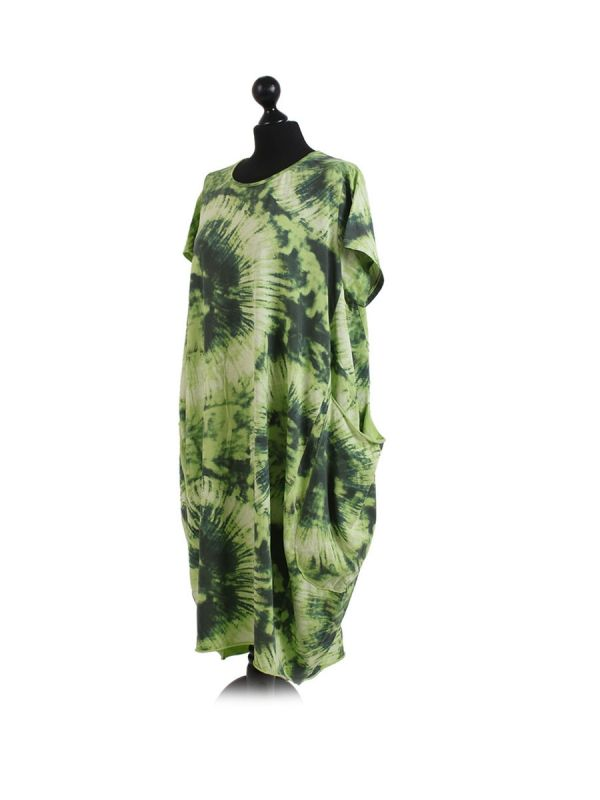Made In Italy Fossil Print Pocketed Cotton Lagenlook Cocoon Dresss-Lime green side