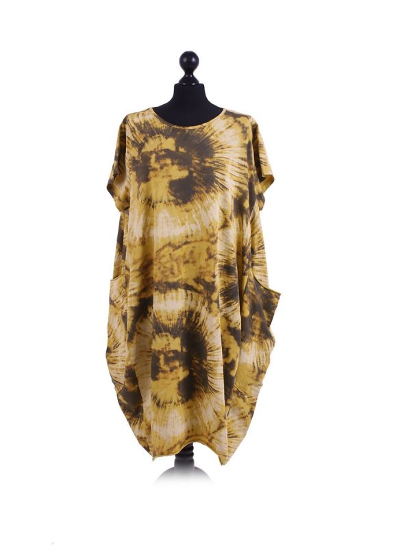 Made In Italy Fossil Print Pocketed Cotton Lagenlook Cocoon Dresss-Mustard