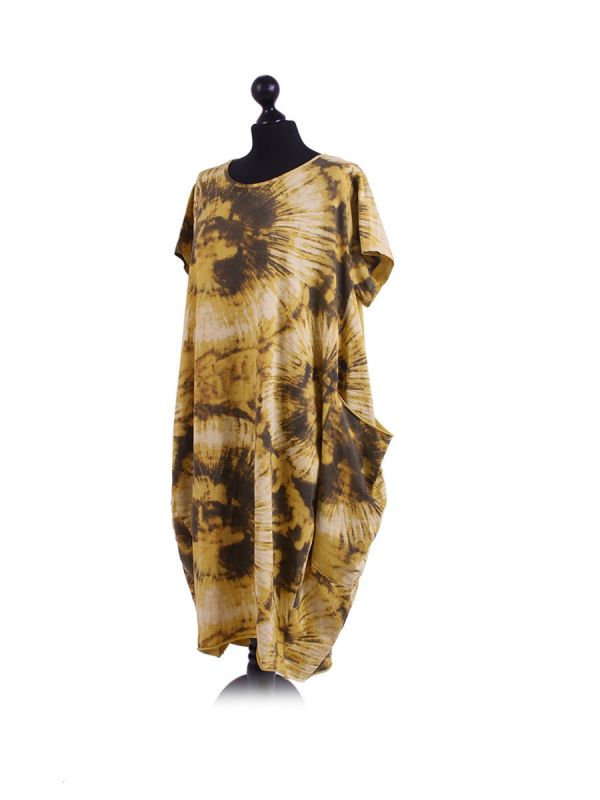 Made In Italy Fossil Print Pocketed Cotton Lagenlook Cocoon Dresss-Mustard side