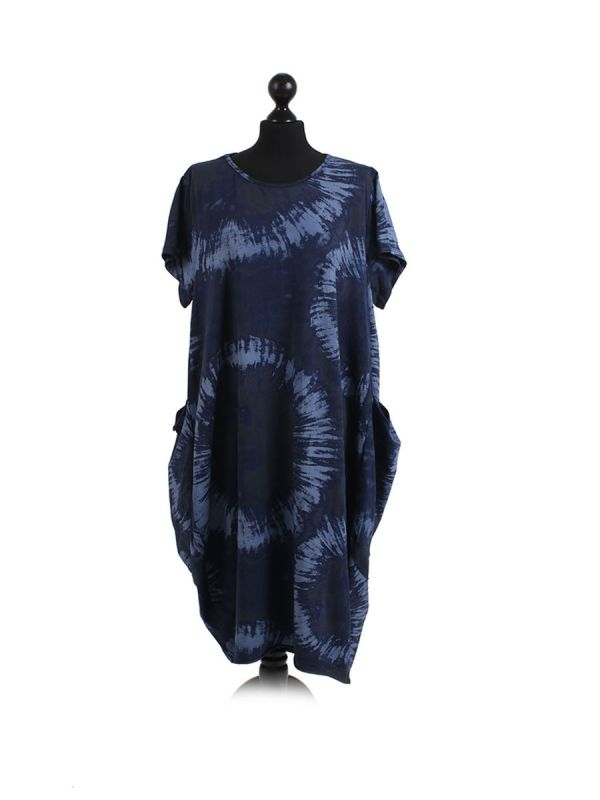 Made In Italy Fossil Print Pocketed Cotton Lagenlook Cocoon Dresss-Navy