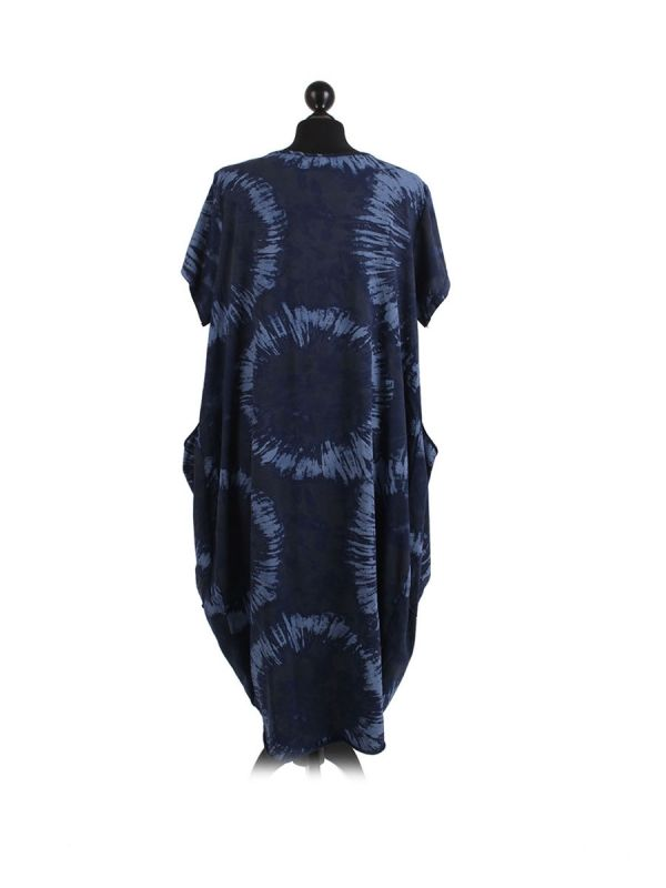 Made In Italy Fossil Print Pocketed Cotton Lagenlook Cocoon Dresss-Navy back