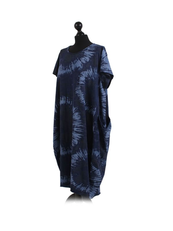 Made In Italy Fossil Print Pocketed Cotton Lagenlook Cocoon Dresss-Navy side