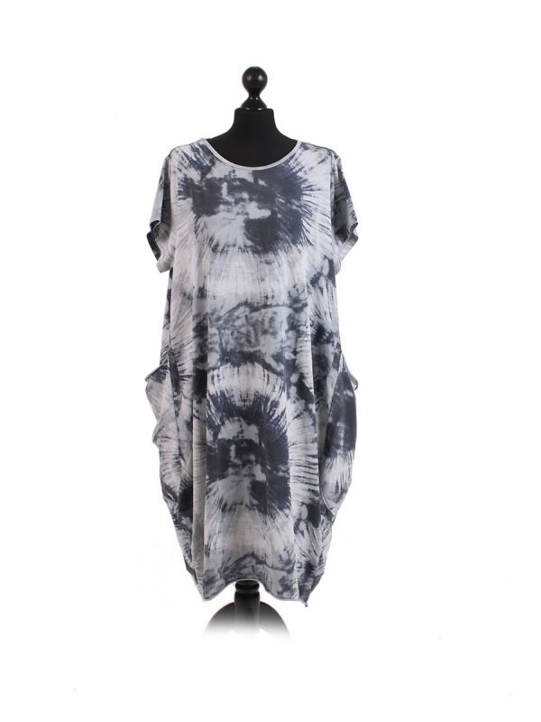 Made In Italy Fossil Print Pocketed Cotton Lagenlook Cocoon Dresss-Silver