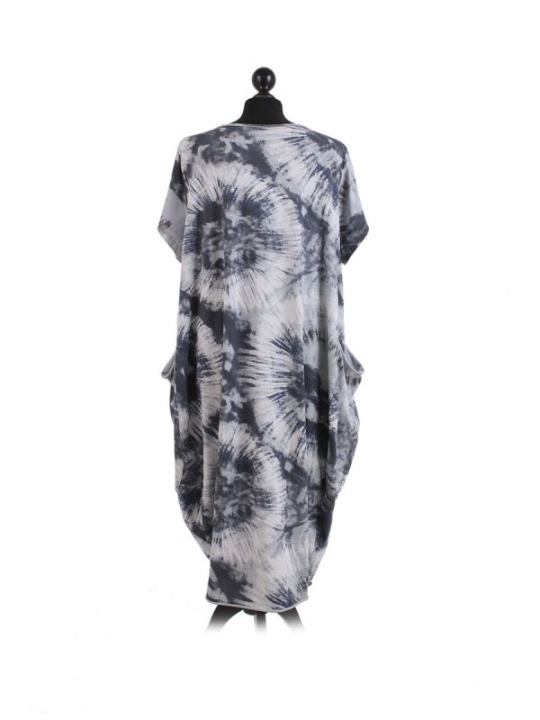 Made In Italy Fossil Print Pocketed Cotton Lagenlook Cocoon Dresss-Silver back