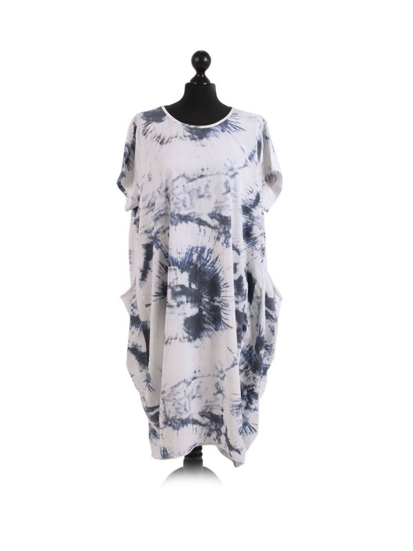 Made In Italy Fossil Print Pocketed Cotton Lagenlook Cocoon Dresss-White