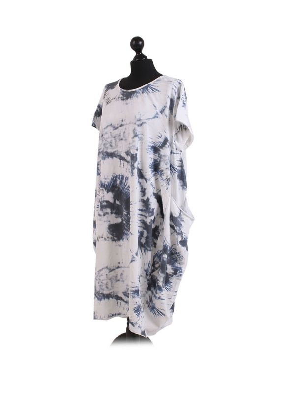 Made In Italy Fossil Print Pocketed Cotton Lagenlook Cocoon Dresss-White side
