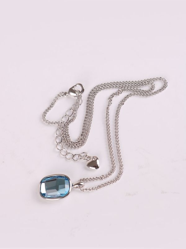 Rhodium Plated Crystal Necklace-2