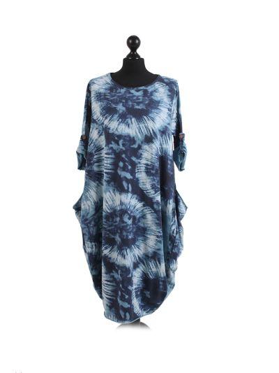 Italian Tie & Dye Circle Print Round Hem Cotton Lagenlook Dress