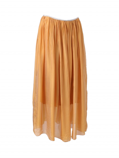 Italian 2 Layered Glittery Belt Plain Silk Skirt