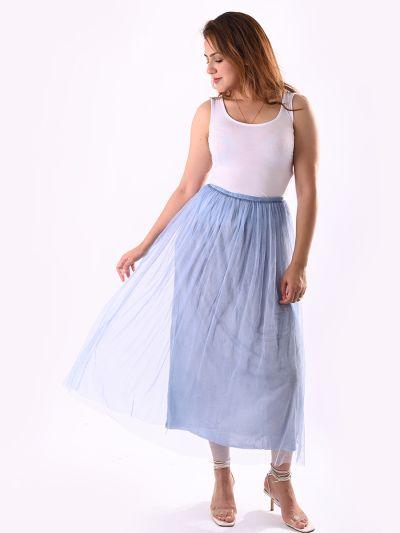 Italian 2 Layered High Waist Wild Net Skirt