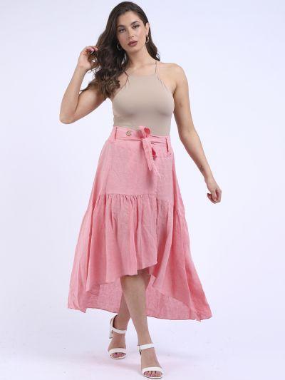 Italian Asymmetrical Frilled Hem Linen Skirt