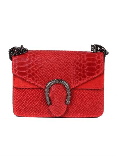 Italian Crocodile Print Chain Shoulder Strap Leather Bag