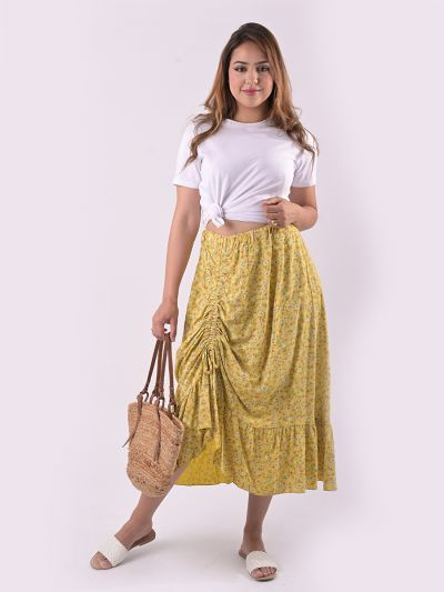 Italian Ditsy Floral Print Gathered Front Classy Skirt