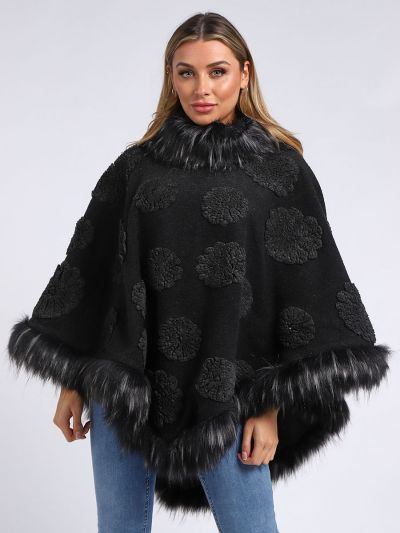 Italian Embroidered Flowers Faux Fur Cape Woolen Lagenlook Poncho