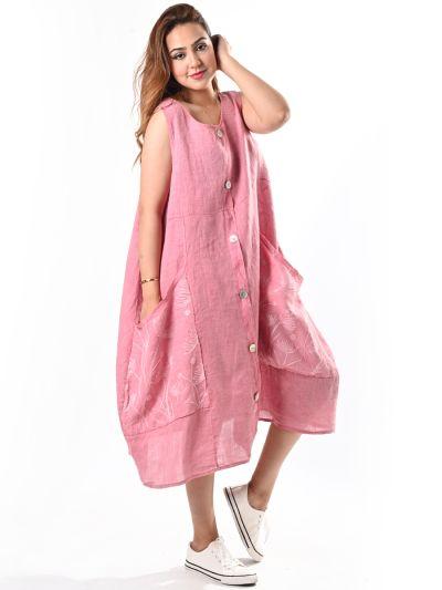 Italian Embroidered Pockets Sleeveless Linen Lagenlook Dress