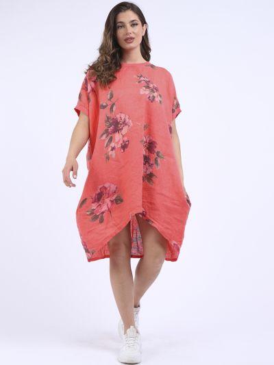 Italian Floral Linen Baggy Top