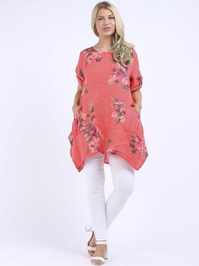 Italian Floral Linen Tunic Top