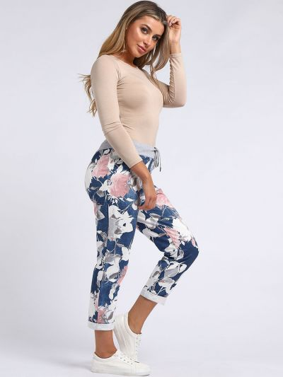 Italian Floral Print Cotton Ladies Denim Slouch Joggers