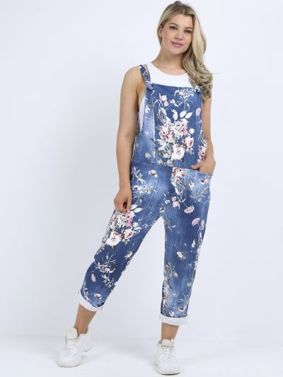 Italian Floral Print Cotton Relaxed Fit Pabo Denim Dungaree