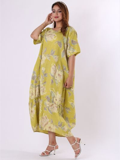 Italian Floral Print Gathered Hem Linen Lagenlook Slouchy Dress