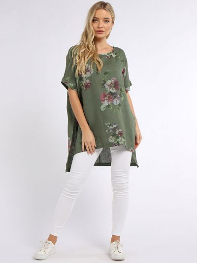 Italian Floral Print High Low Linen Tunic Top