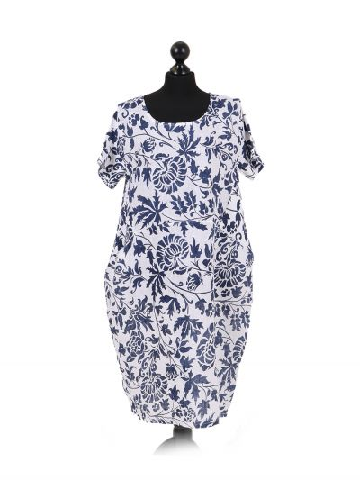 Italian Floral Print Linen Lagenlook Dress