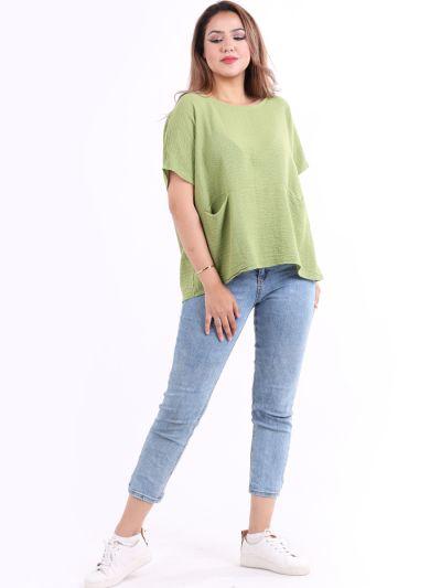 Italian Front Pocket Cotton Lagenlook Crop Top
