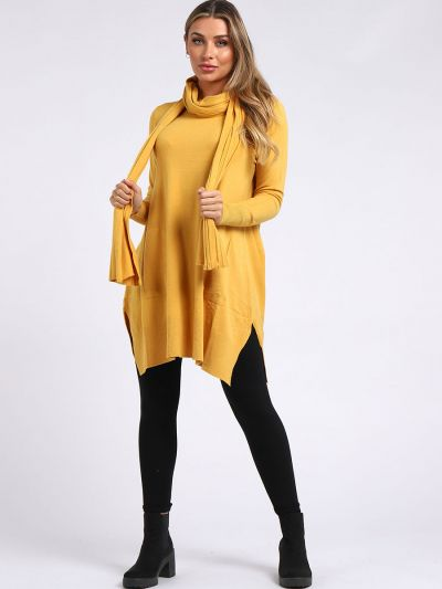 Italian Front Pocket Side Slit Lagenlook Knitted Top With Scarf