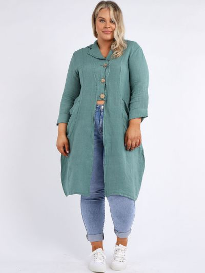 Italian Front Pockets & Buttons Plus Size Linen Lagenlook Jacket