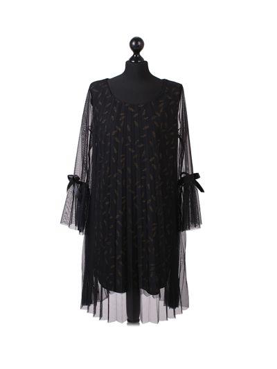 Italian Glittery Leaf Print 2 Layered Mesh Net Lagenlook Dress