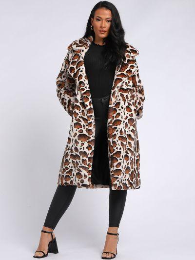 Italian Leopard Print Notched Lapels Long Lagenlook Coat