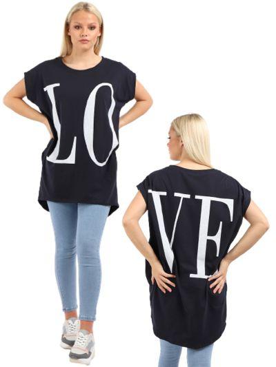Italian Made LOVE Print Casual Longline Cotton Tunic Cocoon Top