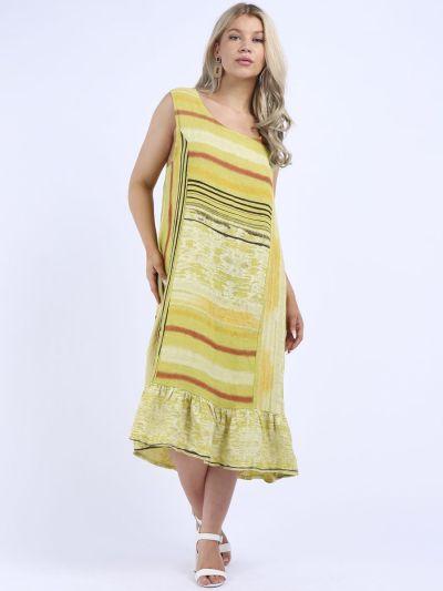 Italian Multi Stripes Linen Sleeveless Oversized Lagenlook Slouchy Dress