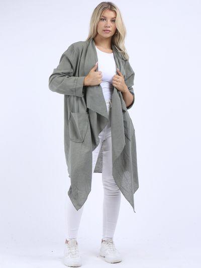 Italian Open Front Shawl Collar Cotton Tunic Style Cardigan