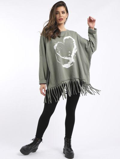 Italian Painted Splash Heart Print Plus Size Casual Baggy Tunic Top
