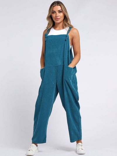 Italian Plain Cotton Dungaree Lagenlook Dress