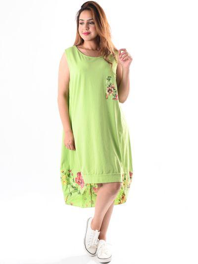Italian Plain Cotton Floral Panel Sleeveless Lagenlook Dress