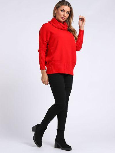 Italian Plain Knitted Cowl Neck Lagenlook Crop Baggy Top