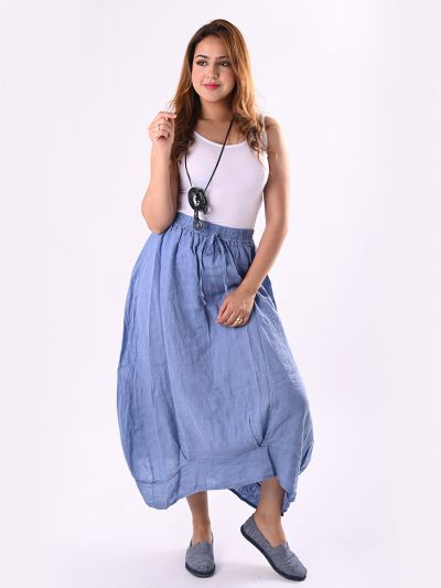 Italian Plain Linen Midi Skirt