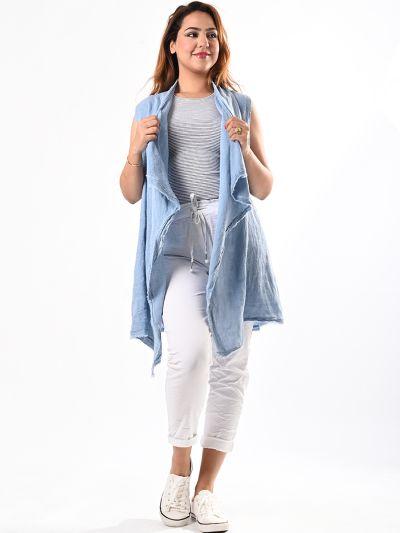 Italian Plain Sleeveless Open Front Linen Jacket