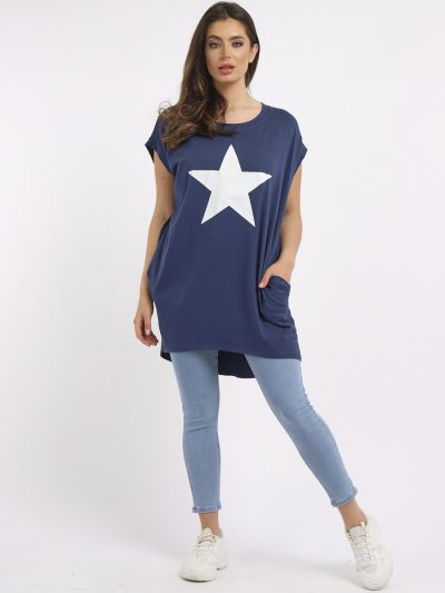 Italian Plain Star Print Hi-Lo Cotton Lagenlook Casual Top