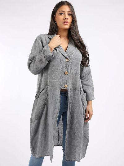 Italian Plain Vintage Wash Front Buttons Linen Plus Size Lagenlook Jacket